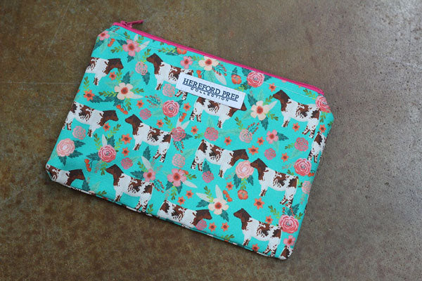 Turquoise Floral Fabric Bag With Shorthorn