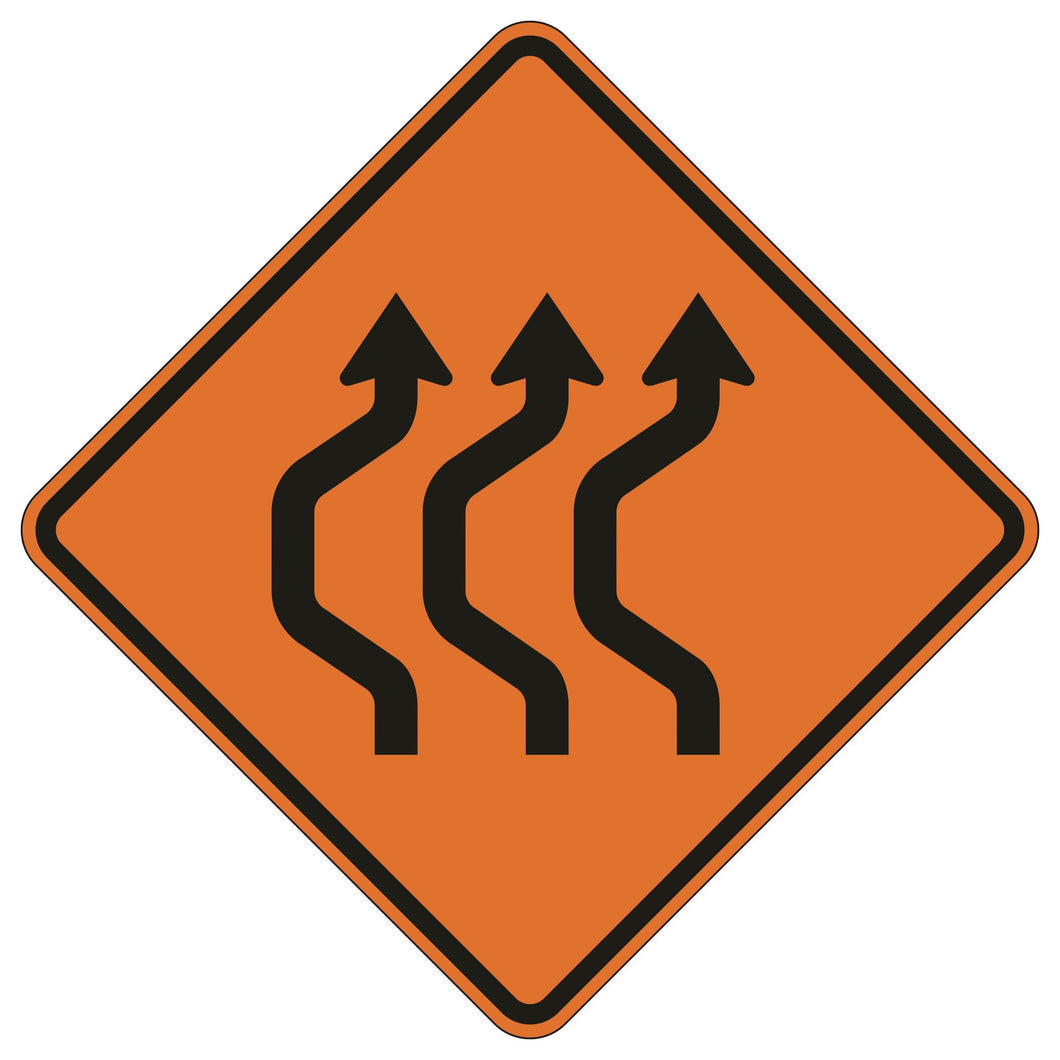 Left Double Reverse Curve (Three Lanes)