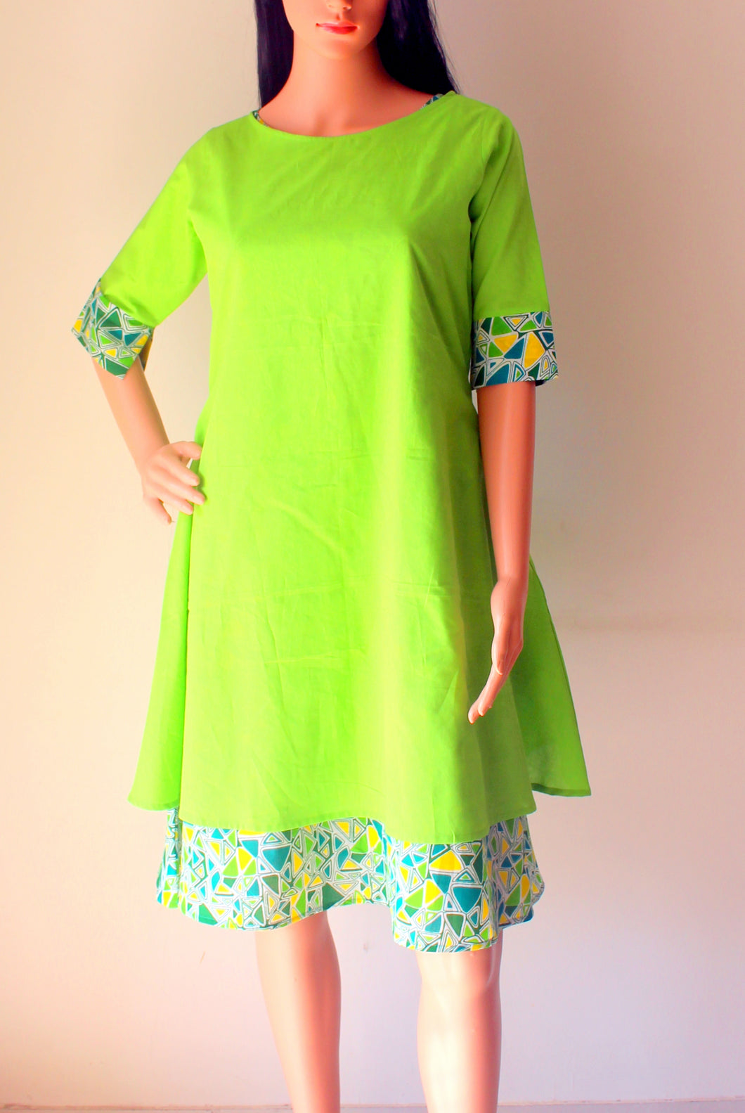 Green Cotton Printed & Plain Cambric 2 Piece Kurta Set