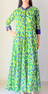Green Printed Front Open Slit Cotton Kurta