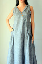Grey Cotton Rayon Pleated Dress