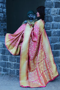 Rani Colour Banarasi Silk Gold Zari Handwoven Saree