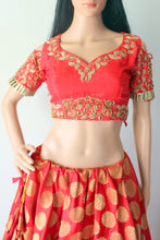 Red Banarasi Lehenga with Zardozi Silk Blouse and Net Embroidered  Dupatta