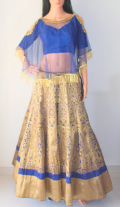 Blue Brocade Banarasi Lehenga with Cape net and Silk Blouse