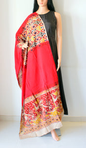Red Kalamkari Print Cotton Dupatta