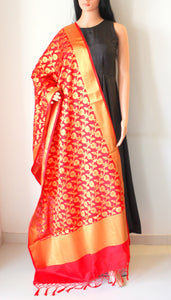 Red Banarasi Cutwork Brocade Handwoven Silk Dupatta