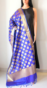 Persian Blue Banarasi Cutwork Brocade Handwoven Silk Dupatta