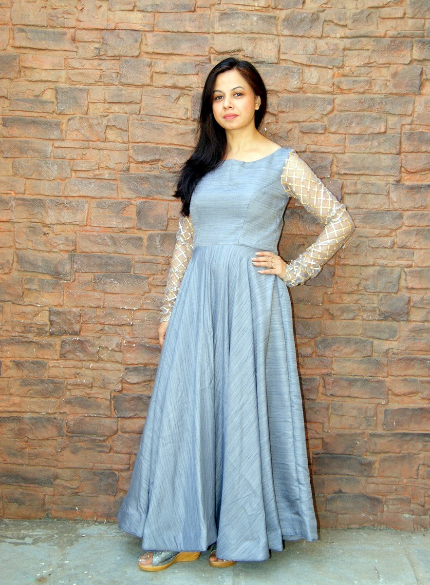 Grey Khadi Silk Anarkali Dress