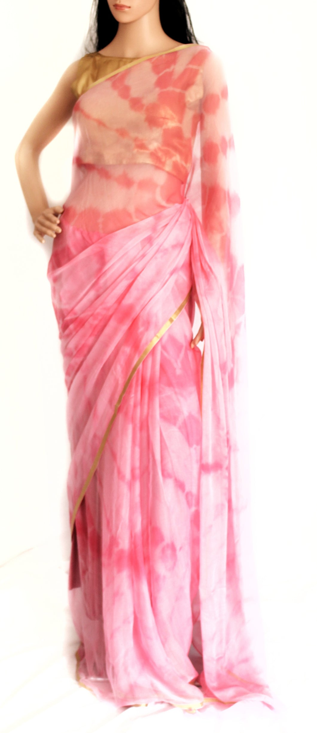Pure Chiffon Sari  in Pink and White Shade Pattern