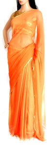 Pure Chiffon Zari Border Orange Sari