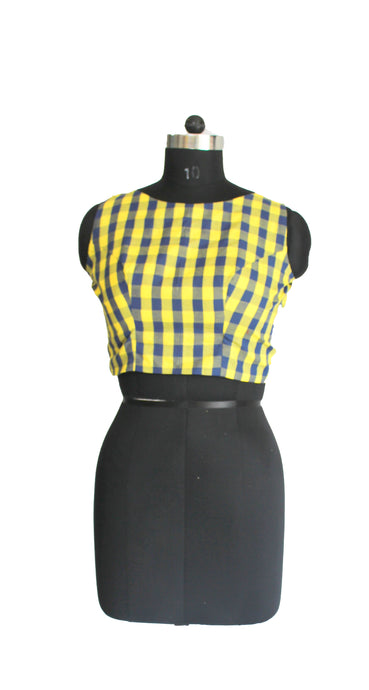 Yellow Blue Check Blouse