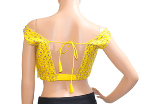 Yellow Silk Hand Embroidery Blouse