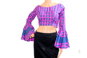 Bell Sleeve Pink Blue Check Blouse