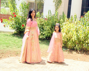 Banarasi Silk Blush Pink Mother-Daughter Lehenga Set