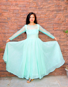 Sea Green Mulmul Anarkali