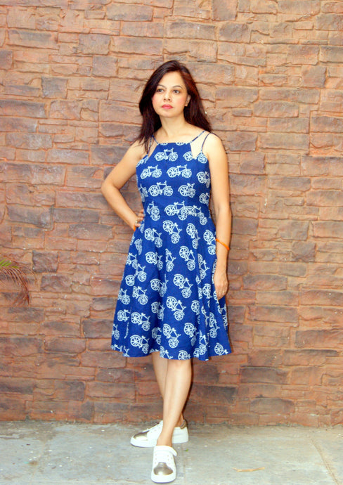 Indigo Hand Block Printed Cycle Cotton Dress