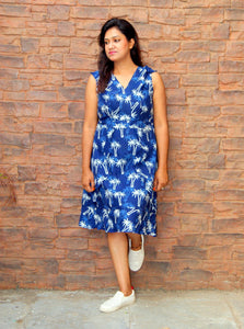 Indigo Hand Block Printed Palm tree Cotton Dress