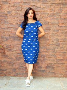 Indigo Hand Block Printed Boat Cotton Dress