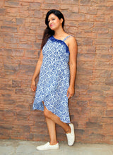 Frilled Wrap Around Printed Cotton Dress