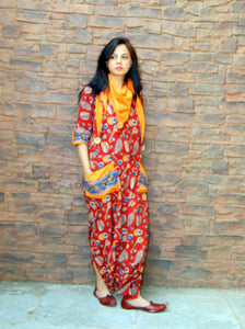 Maroon Kalamkari Cotton Jumpsuit