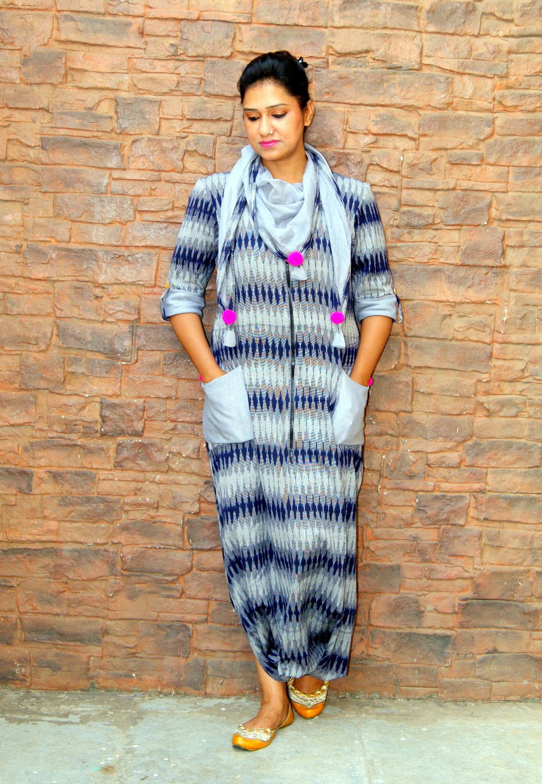 Grey Blue Ikat Cotton Jumpsuit