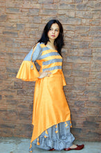 Orange Khadi Silk Kurta With Grey Palazzo in Bell and Frills