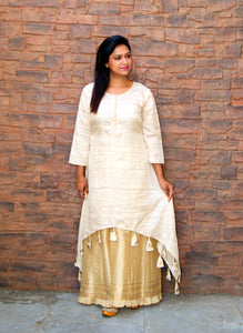 Beige Plain Map Silk Kurta With Palazzo