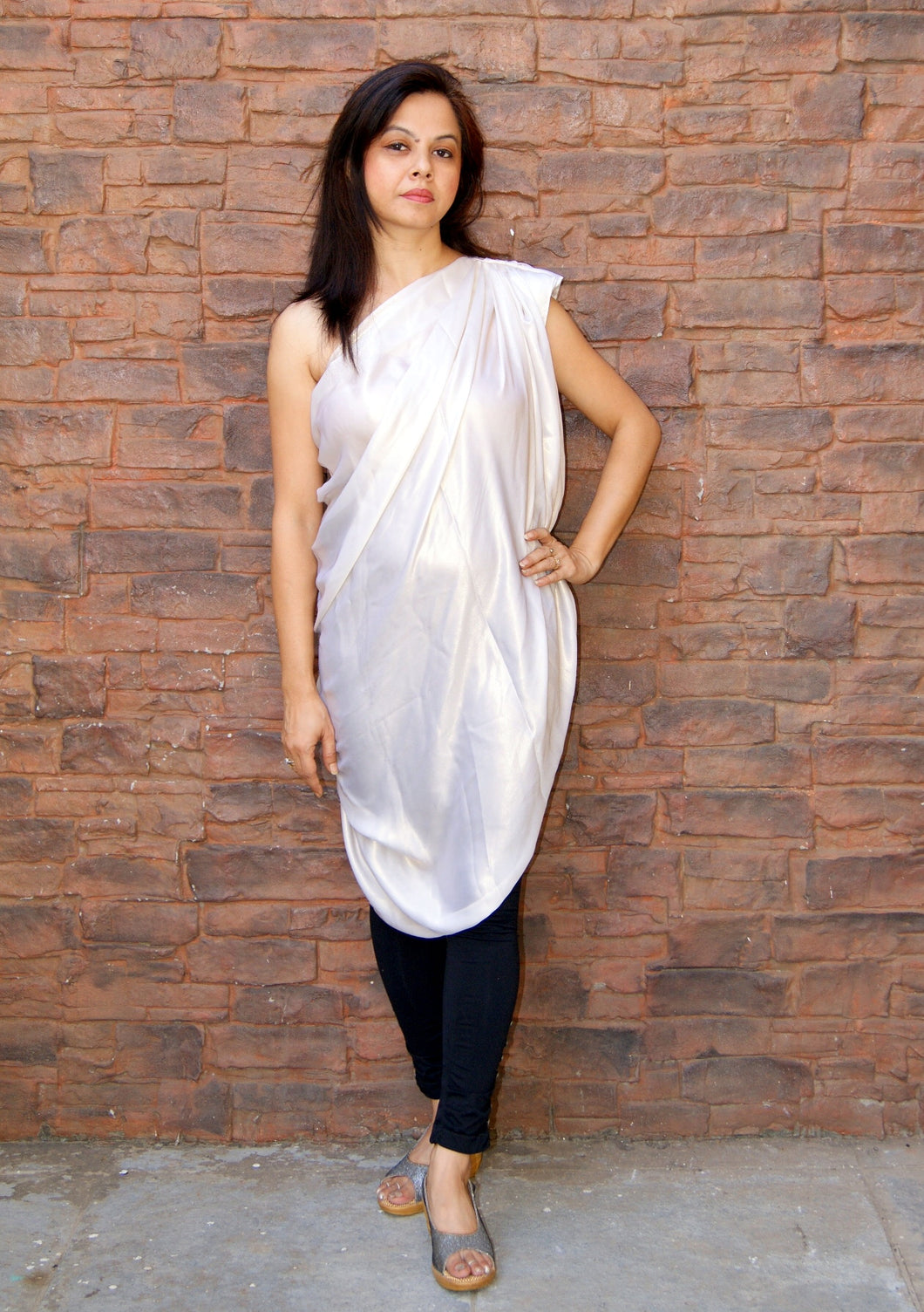The One Shoulder White Metallic Drape Top