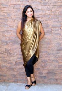 The One Shoulder Gold Metallic Drape Top