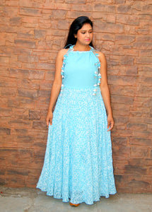 Lakhnawi Chikankari Full Length Sky Blue  Dress