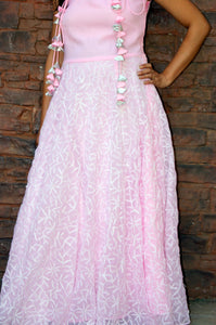 Lakhnawi Chikankari Full Length Baby Pink Dress