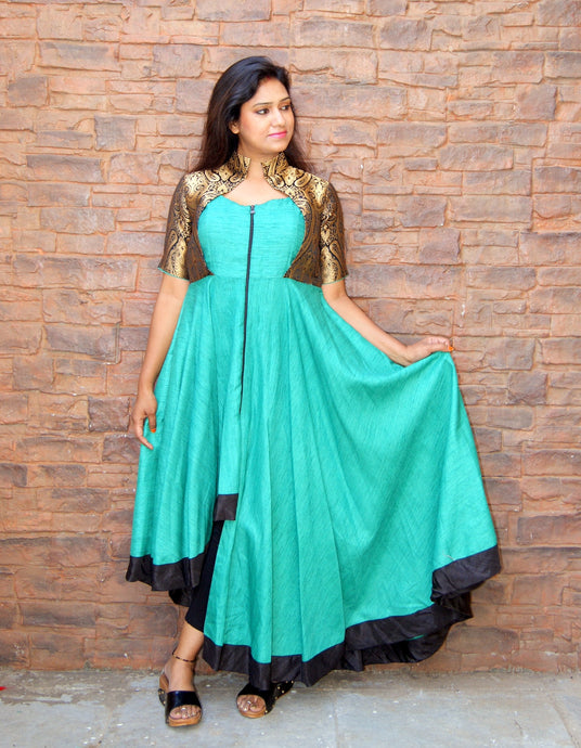 Green Khadi Silk Dress