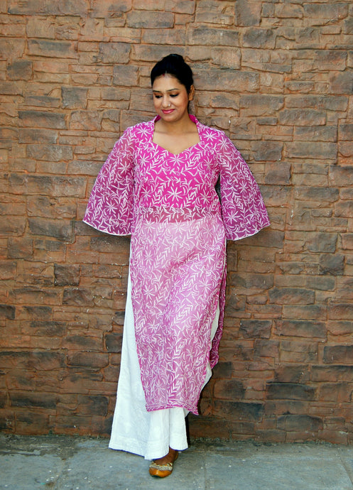 Lakhnawi Chikankari Purple Umbrella Sleeves Kurta