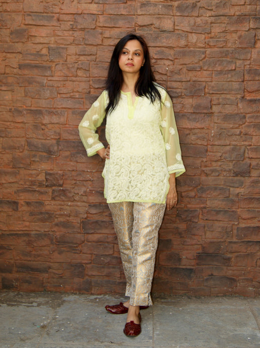 Hand Embroidered Pista Green Faux Georgette Lucknow Chikankari Kurti