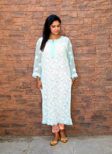 Hand Embroidered Sky Blue Faux Georgette Lucknow Chikankari Kurti