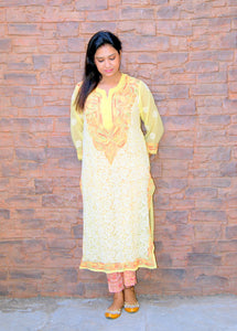 Hand Embroidered Yellow Faux Georgette Lucknow Chikankari Kurti