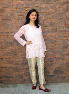 Hand Embroidered Baby Pink  Faux Georgette Lucknow Chikankari Kurti