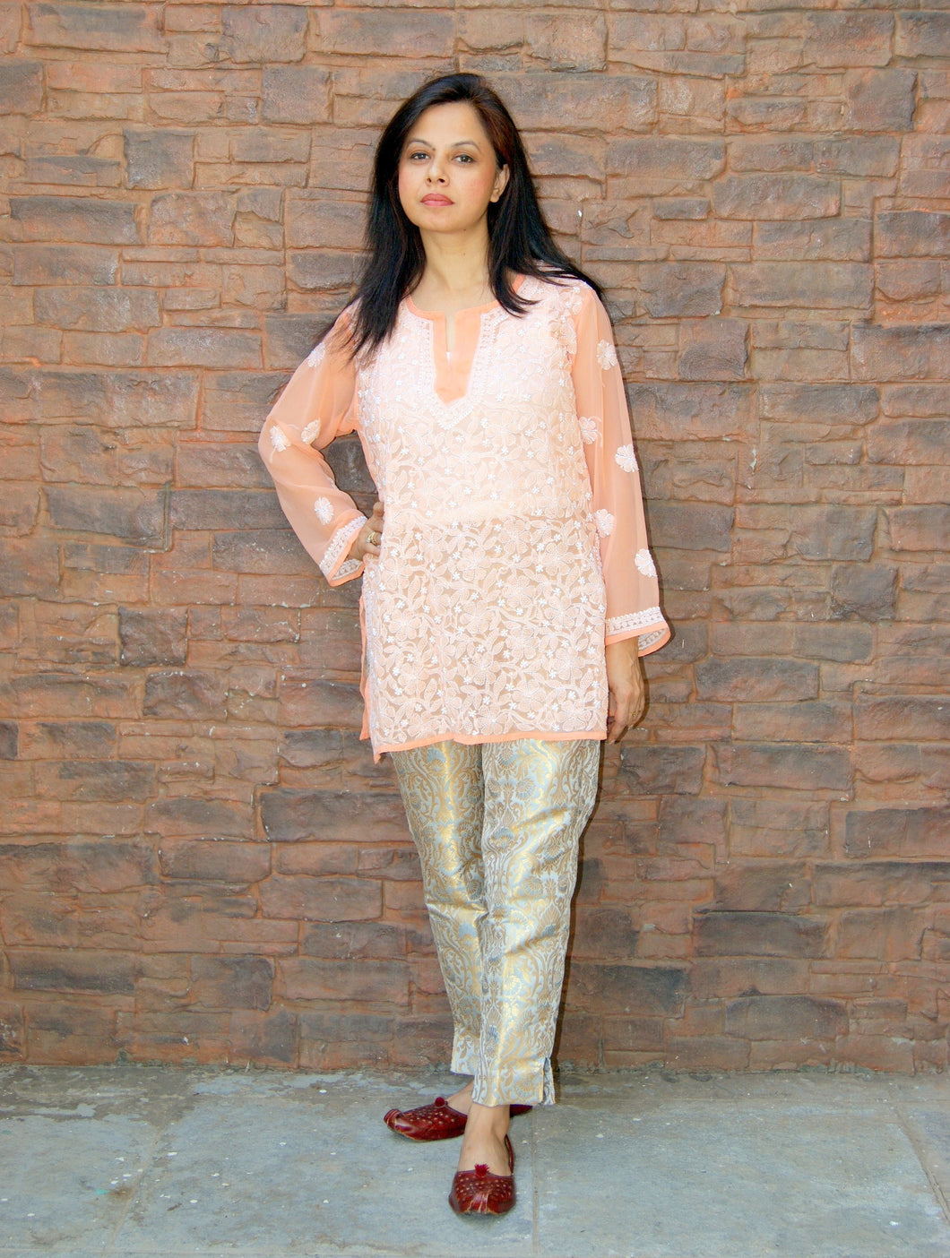 Hand Embroidered Peach Faux Georgette Lucknow Chikankari Kurti