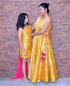 Yellow Gold Floral-Print Brocade Mother-Daughter Dress