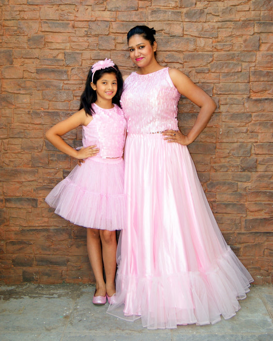 Baby Pink Net Skirt and Top Mother-Daughter Dress