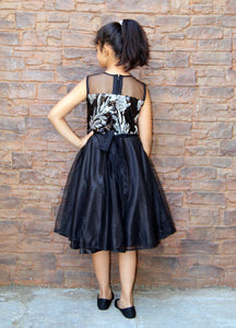 A Black Silver Sequence Mother-Daughter Dress