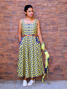 CHECKS DRESS IN YELLOW & BLUE