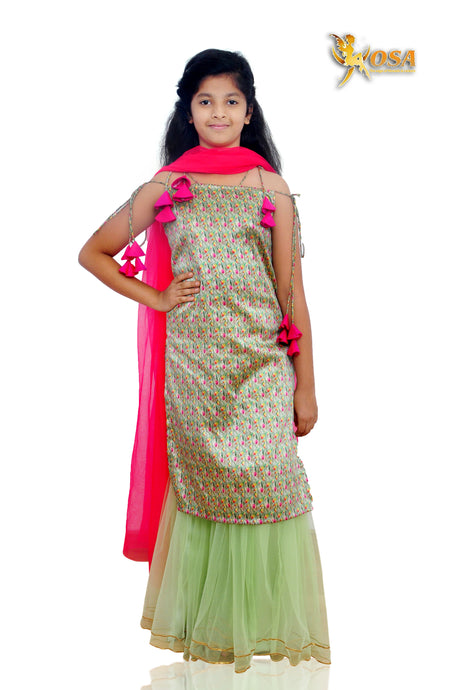 Pista Green Tusser Silk Printed Kurta with Sharara in Net