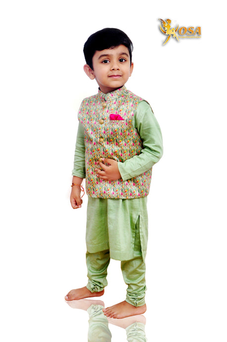 Pista Green Cotton Silk Kurta Churidaar with Tusser Silk Printed Modi Jacket