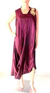 Silk Cowl Dress In Wine Colour