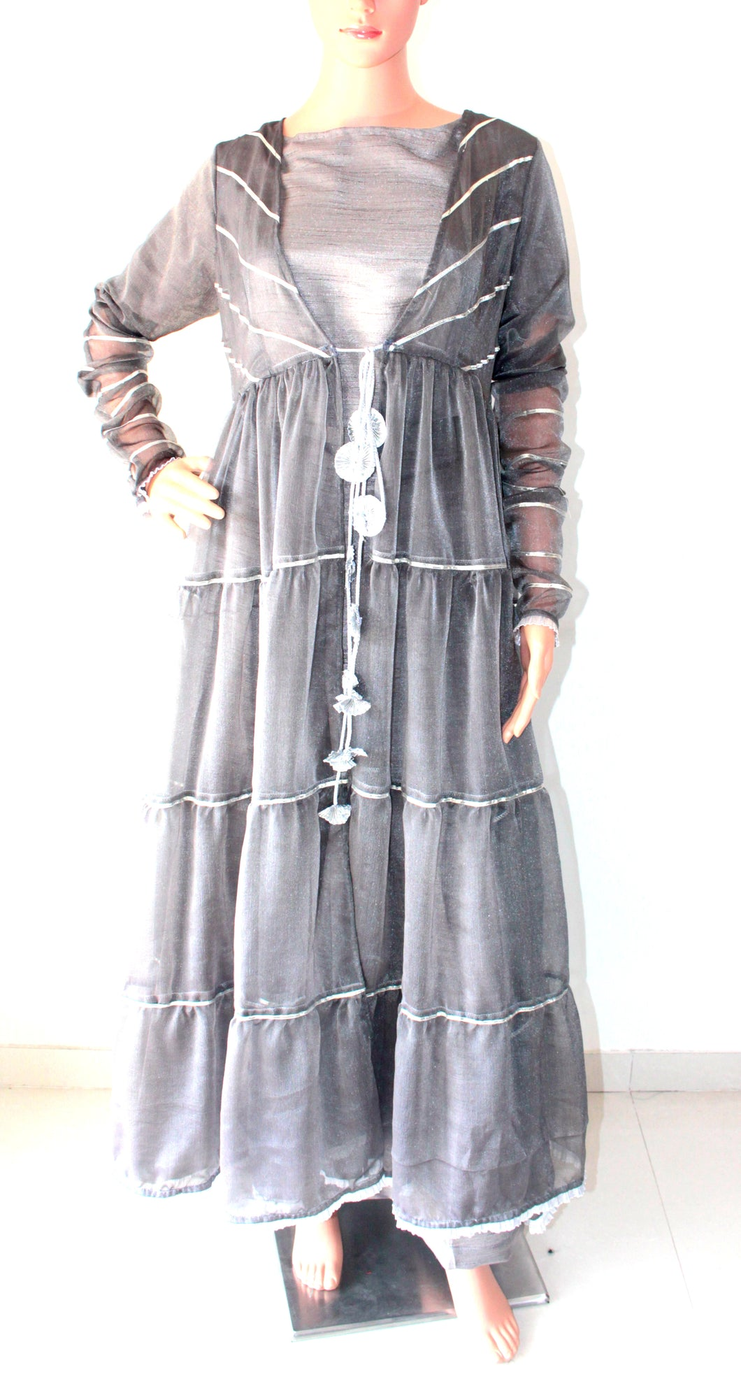 Grey Gota Work Chiffon Cape