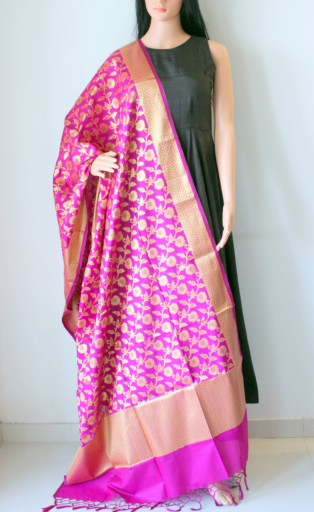 Rani Colour Banarasi Cutwork Brocade Handwoven Silk Dupatta
