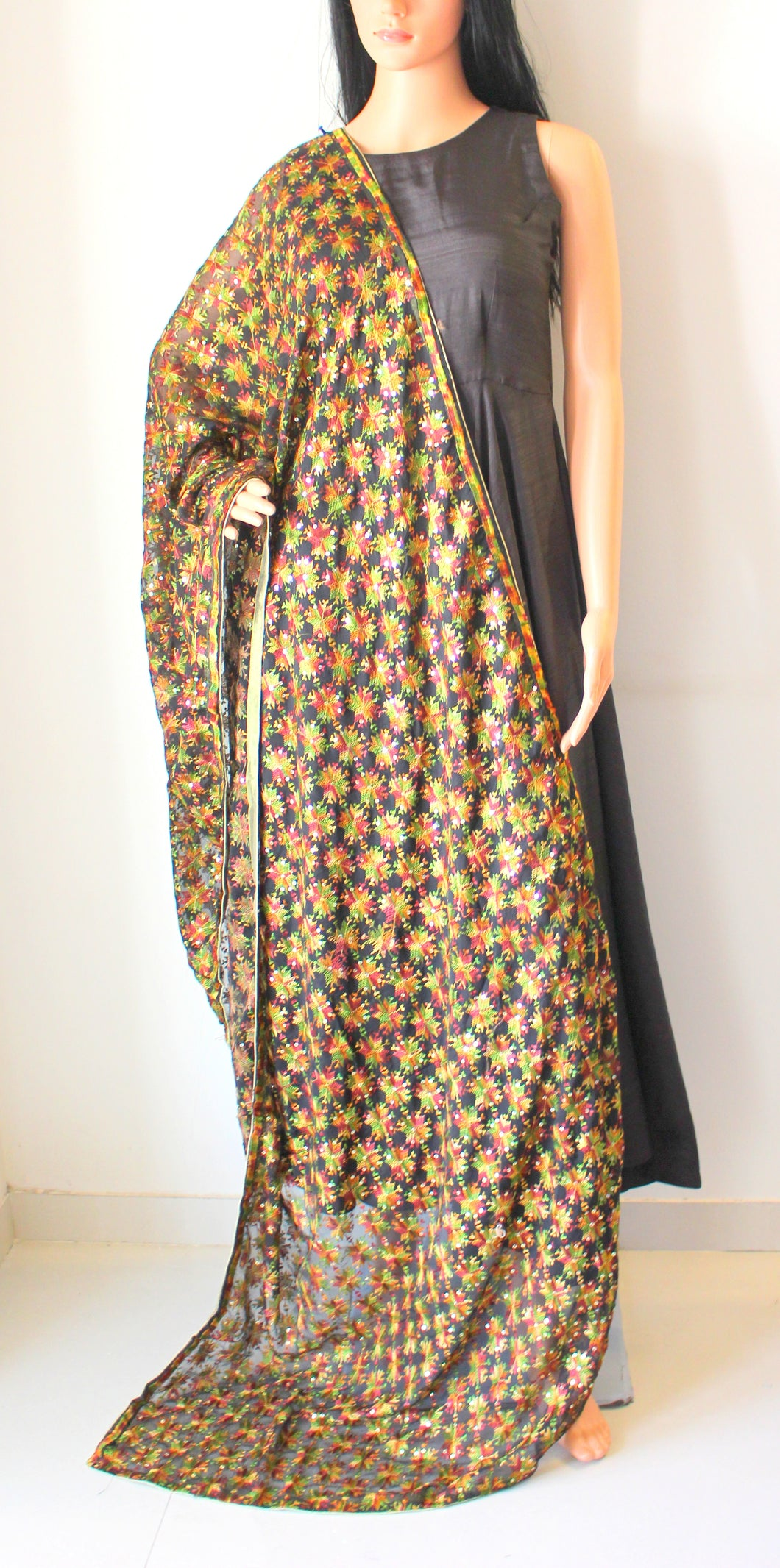 Black Multicoloured Phulkari Hand-Embroidered Dupatta