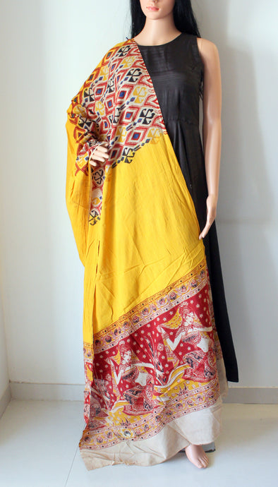 Yellow Red Kalamkari Print Cotton Dupatta