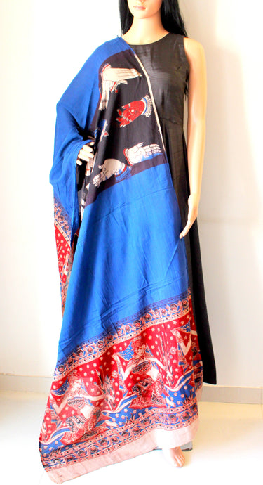 Blue Red Kalamkari Print Cotton Dupatta